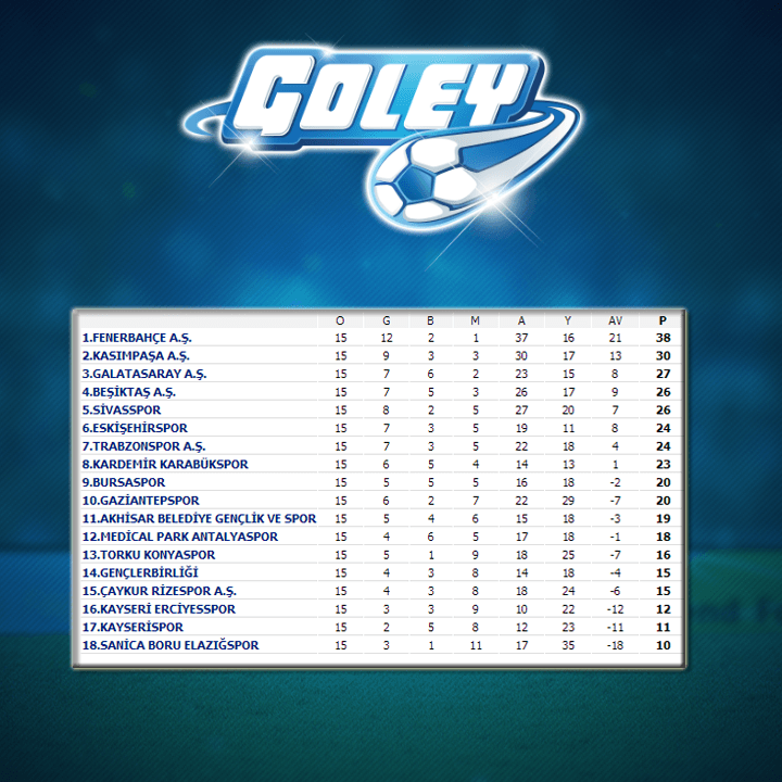 Spor Toto Süper Lig 15.Hafta Puan Durumu